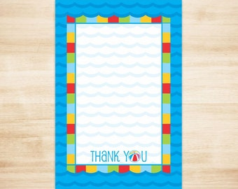 Pool Party Thank You Card - Pool Party Thank You Note - Pool Birthday Thank You Note - Flat Thank You Note - PRINTABLE, Instant Download
