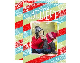 Believe Photo Christmas Card - Christmas Photo Card - Holiday Photo Card - Printable Christmas Card with Photo - Personalized Christmas Card