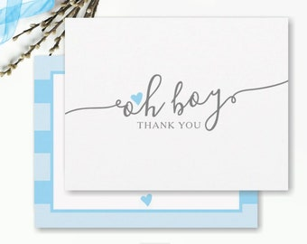 Simple Baby Shower Thank You Cards, Blue Heart, Baby Boy Thank You Notes, Boy Baby Thank You, new baby FLAT thank you card