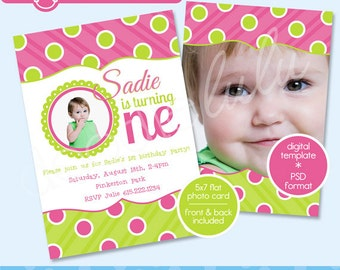 1st Birthday Photo Card Invitation Template