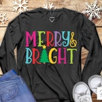 Christmas SVG, Merry and Bright SVG, Christmas shirt design, holiday tshirt image, sublimation, cut file, DxF PnG JPeG