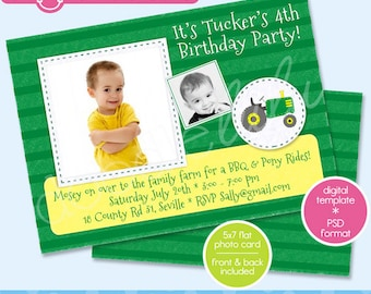 1st Birthday Photo Card Invitation Template Girl 1st Etsy
