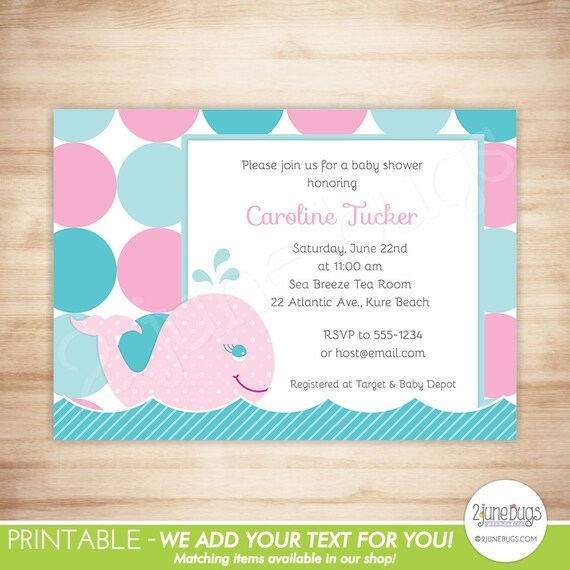 Pink Whale Baby Shower Invitation Nautical Baby Girl Shower Mod