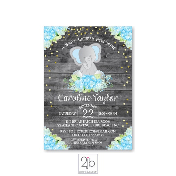 Elephant Baby Shower Invitation Boy Rustic Baby Shower With Boho