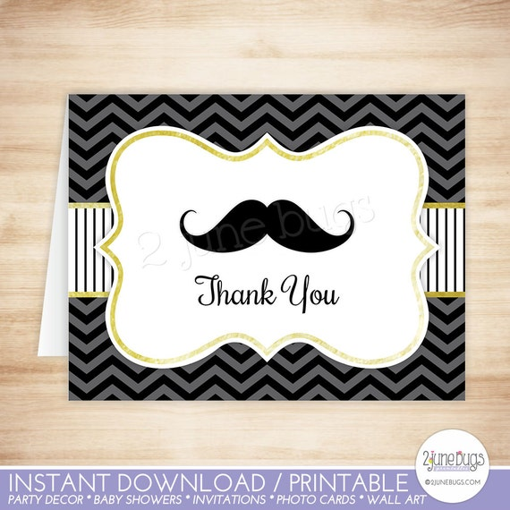 Mustache Thank You Card Template Mustache Folded Thank You Etsy