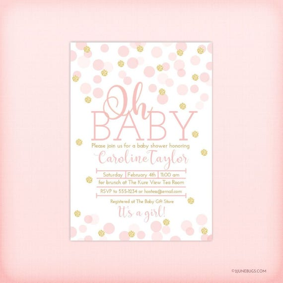 Pink and Gold Baby Shower Invitation, Pink Gold Glitter Dots Confetti Baby Girl Shower Invitation, Oh Baby, It's a Girl, PRINTABLE