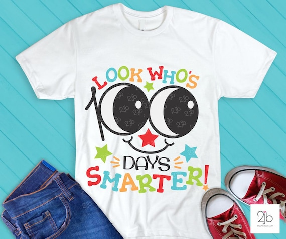 100 Days Of School Svg 100 Days Smarter Kid Shirt Svg 100th Day Of School Design For Iron On Transfer School Cut File Dxf Png By Doodlelulu Party By 2 June Bugs Llc