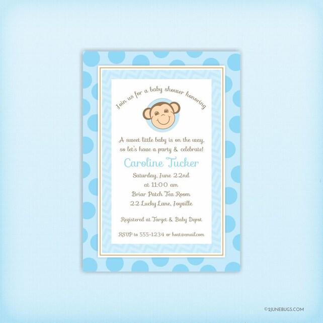 Monkey Baby Shower Invitation Baby Boy Shower Invites Blue Mod