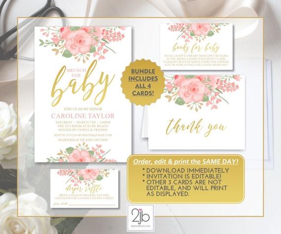e4ddf1ccbf1 Editable Blush Pink   Gold Watercolor Floral Baby Shower Invitation template  bundle  raffle