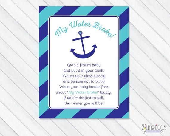 Nautical My Water Broke Game Sign My Water Broke Baby Shower Etsy