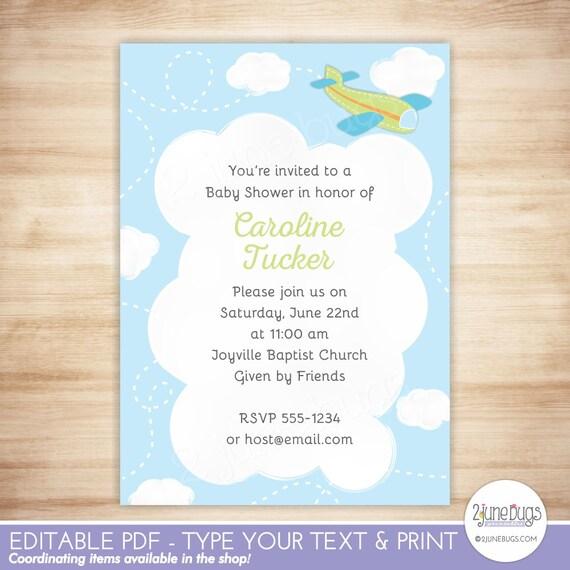 Editable Airplane Baby Shower Invitation Template Green Airplane