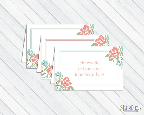 Printable Floral Food Tent Labels Cards Or Place Cards Baby Etsy