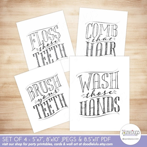 Printable Bathroom Wall Art Wash Those Hands Wall Art Brush Etsy