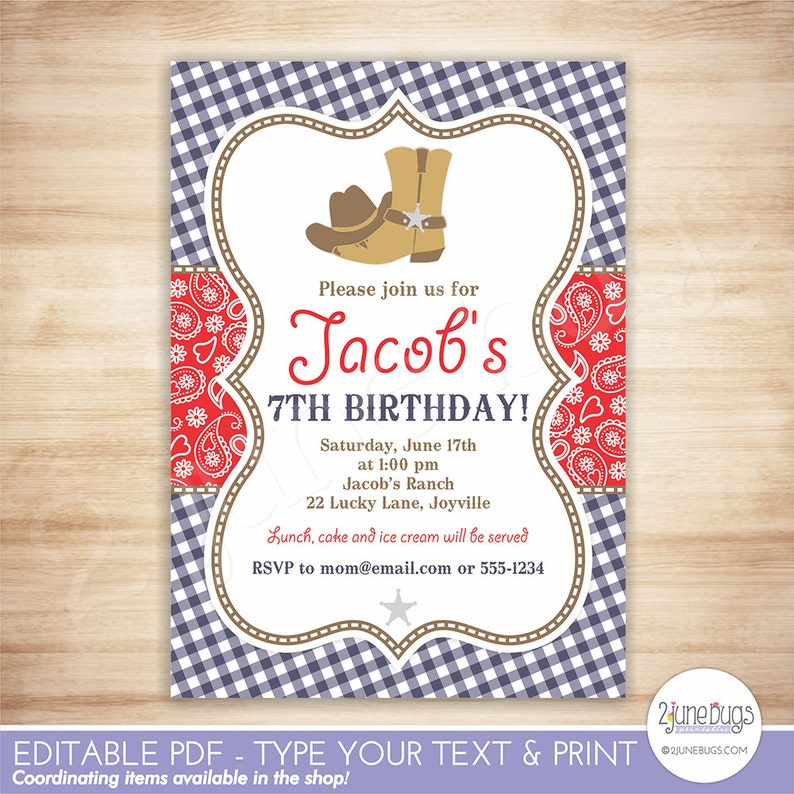 Cowboy Birthday Party Invitation Template