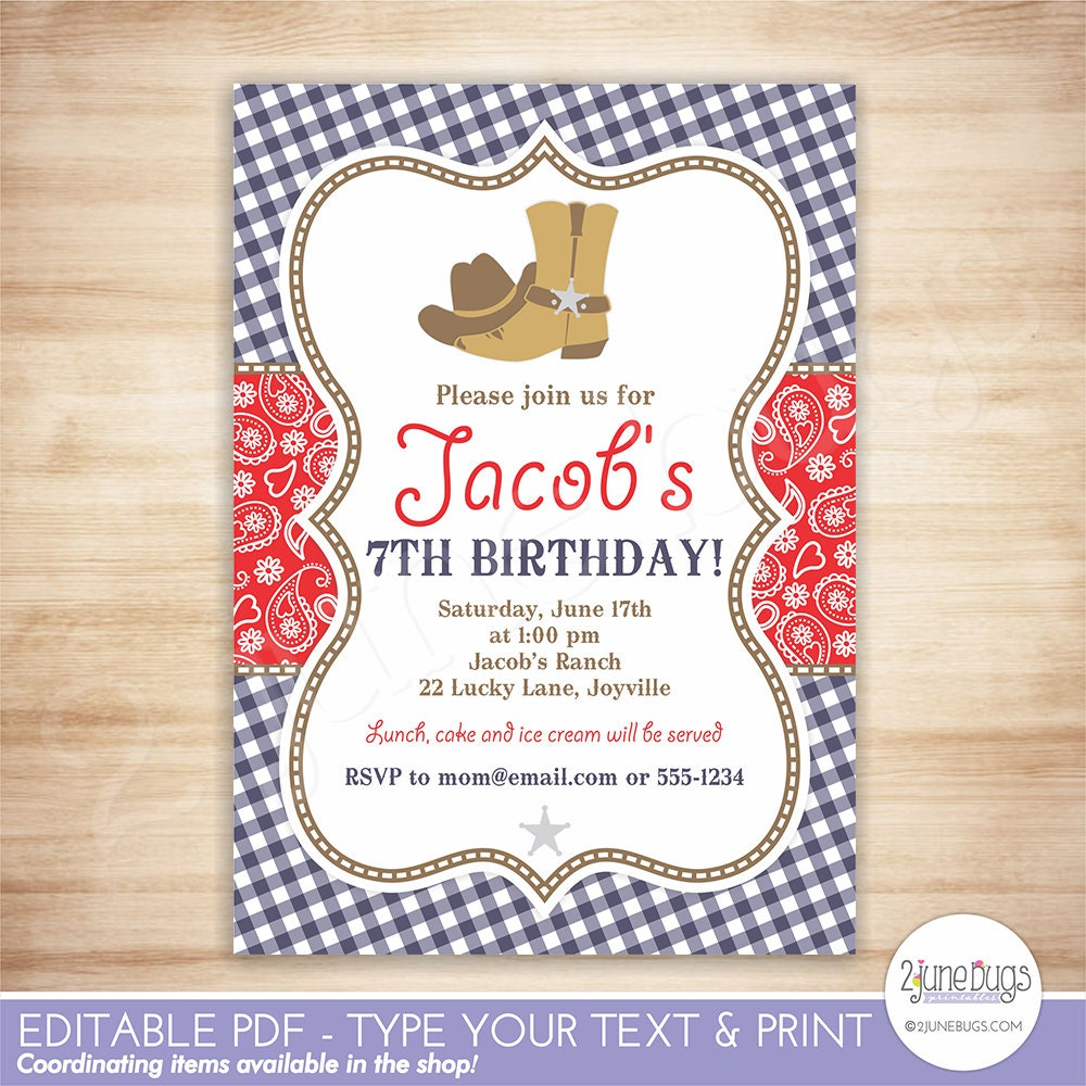 Cowboy Birthday Party Invitation Template Red Blue Paisley | Etsy