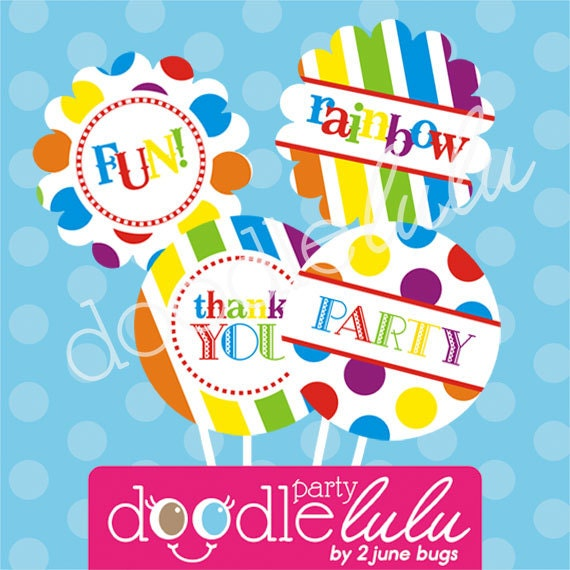 INSTANT DOWNLOAD DIY Party Decorations Rainbow Birthday Printable Digital Circles Cupcake Toppers