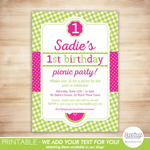 Watermelon First Birthday Invitation Spring Picnic Girl 1st