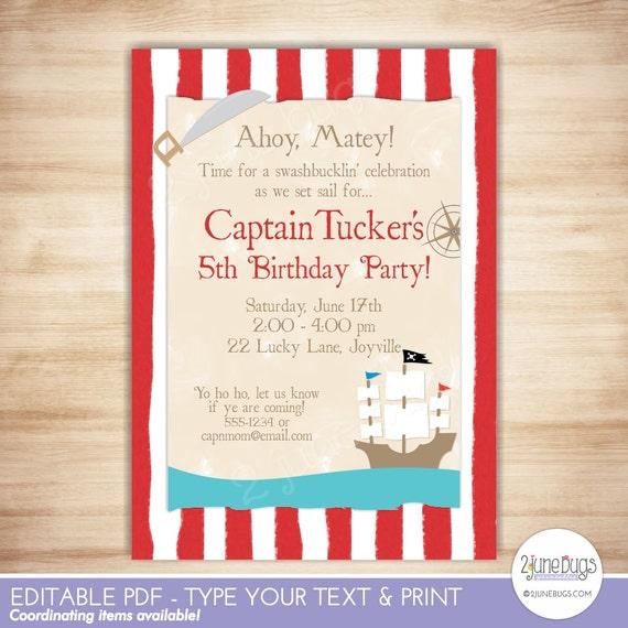pirate birthday party invitation pirate party invite pirate