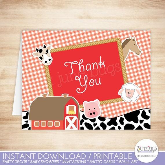 Farm thank You Card Printable Farm animals and Cowgirl birthday Thank you Card