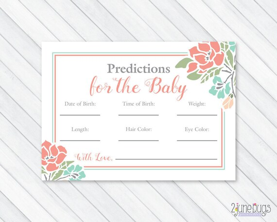 image regarding Baby Prediction Cards Free Printable named Floral Kid Shower Prediction Playing cards, Kid Data Recreation