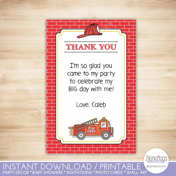 Fire truck thank you note blank template fire truck flat etsy image 0 maxwellsz