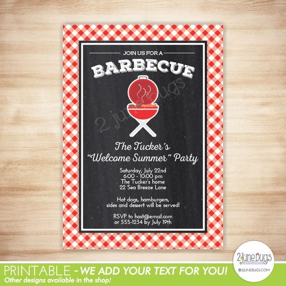 chalkboard barbecue invitation bbq grill birthday party invitation