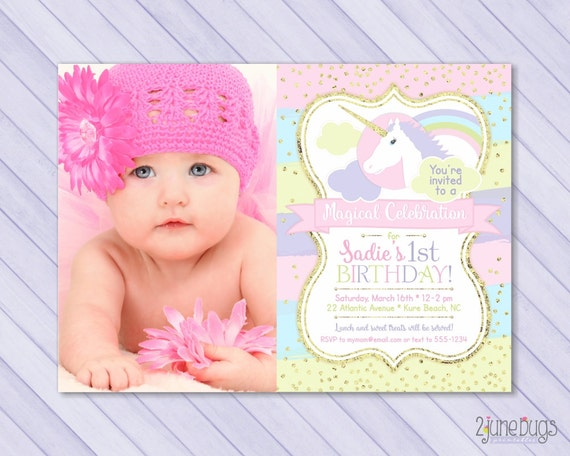 Unicorn First Birthday Invitation 1st