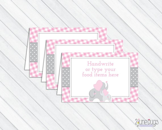 Pink Elephant Food Tent Cards Or Place Cards Elephant Baby Etsy