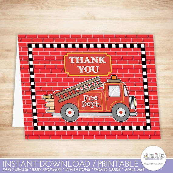 fire truck thank you card template fire truck folded thank etsy