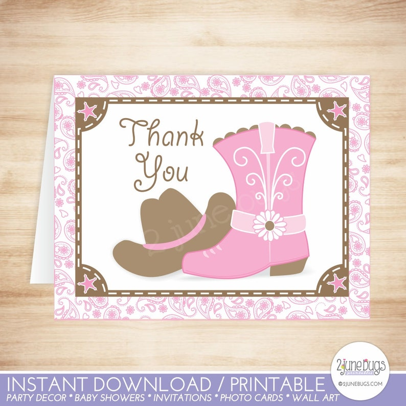 Cowgirl Birthday Party Thanks Cowgirl Baby Shower Thank You Card Cowgirl Thank You Card Template PRINTABLE INSTANT DOWNlOAD Pink Brown