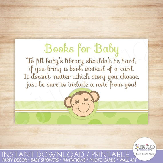 Green Monkey Baby Shower Book Request Cards Gender Neutral Baby