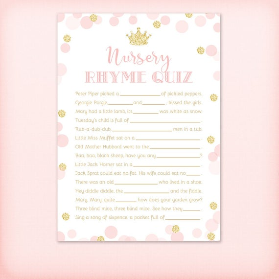 Princess Nursery Rhyme Quiz Baby Shower Game, Royal Pink and Gold Glitter  Baby Shower Game - PRINTABLE INSTANT DOWNLOAD