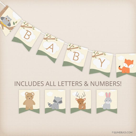 Woodland Animals Baby Shower Banner All Letters Custom Diy Baby