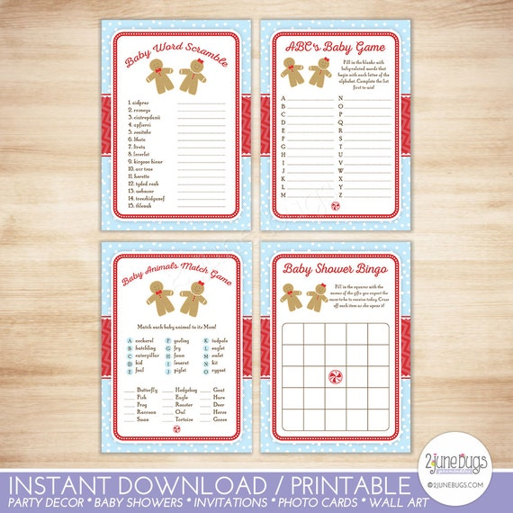 Holiday Shower Games Package Gingerbread Gender Reveal Baby Shower