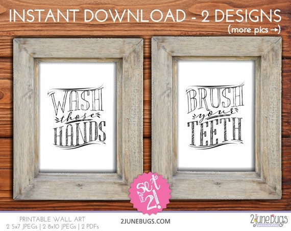 Printable Bathroom Wall Art Wash Those Hands Wall Art Brush Your
