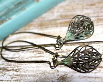 Patina Dangle Earrings, Boho Earrings,Patina Jewelry,Verdigris Patina, Summer Earrings, Lacy Filigree Earrings, Gift for her