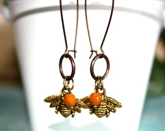 Bee Earrings Czech Glass Rustic Dangle Earrings Fall Jewelry
