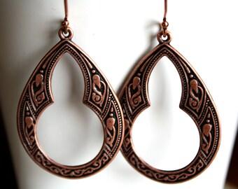 Copper Dangle Earrings, Boho Earrings, Summer Jewelry, Celtic Hoop Earrings, Lightweight Earrings