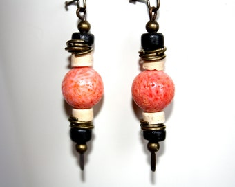 Rustic Dangle Earrings, Coral Earrings