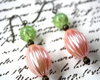 Vintage Bead Earrings, Pastel Earrings, Spring Jewelry