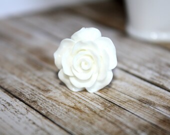 White Rose Adjustable Ring, Silver Band