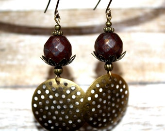 Czech Glass Rustic Dangle Earrings Ruby Earrings Fall Jewelry