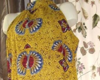 Batik Halter Dress with Shawl - Plus Size 60s Vintage