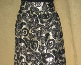 Brocade Skirt Maxi Gold & Black M 60s Vintage