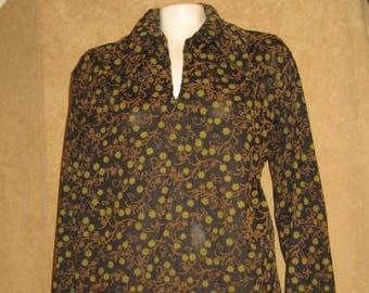 Mens Flocked Shirt Long Sleeve 60s 70s Vintage
