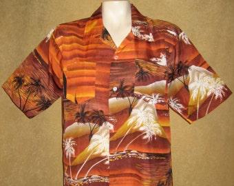 Mens Hawaiian Shirt L - XL Sunset Print 60s Vintage