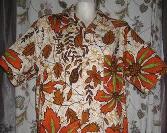 Mens Hawaiian Shirt by Likeke L - XL 60s 70s Vintage