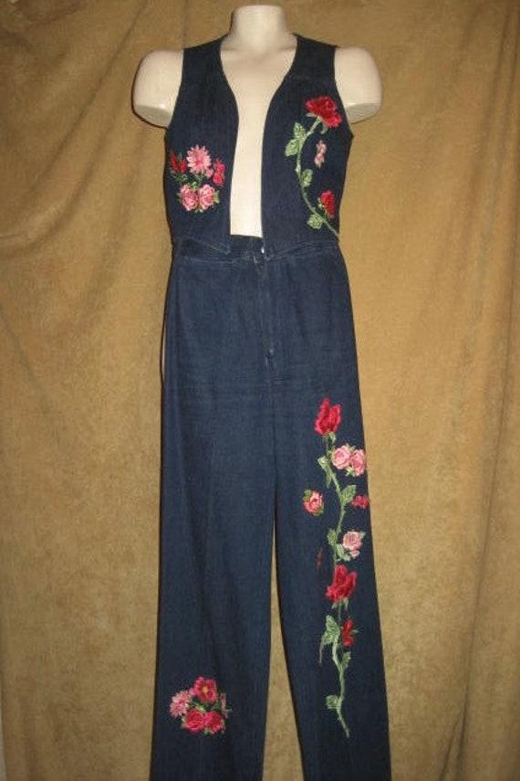 Denim Pants & Vest Set Rose Floral Applique 70s Pe