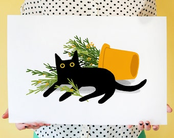 Shrubbsup! Art print featuring black cat relaxing beside her fave potted plant; wall art, home decor, cat lover print