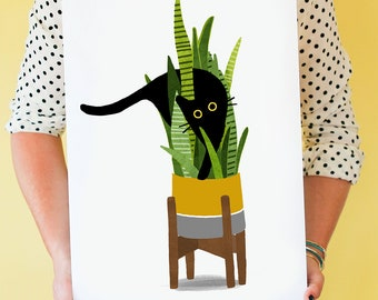 Wild Cat! Cat art print featuring black cat (or grey cat) exploring a potted snake plant; wall art, home decor, cat lover print,